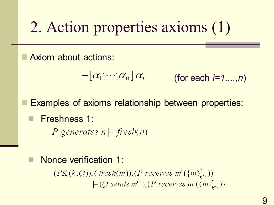 (for each i=1,...,n) 2. Action properties axioms (1) Axiom about actions: 9 Examples of axioms relationship between properties: Nonce verification 1: