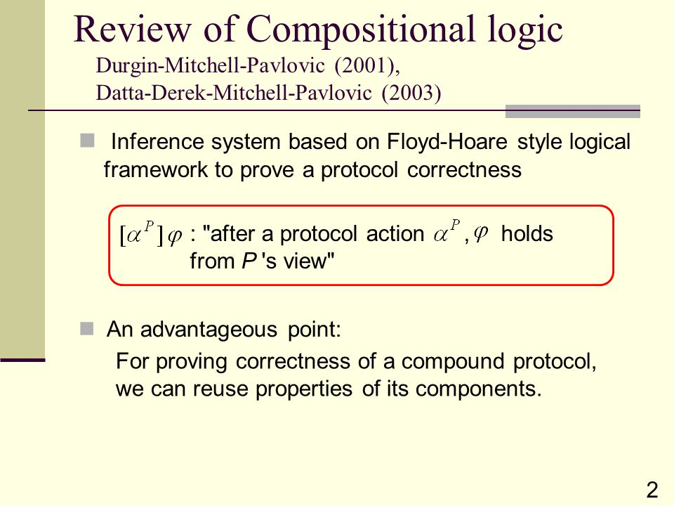 Review of Compositional logic Durgin-Mitchell-Pavlovic (2001), Datta-Derek-Mitchell-Pavlovic (2003) Inference system based on Floyd-Hoare style logica