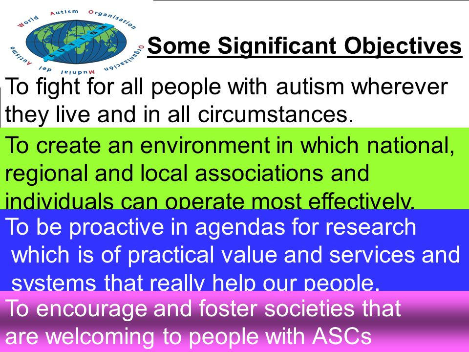 Some Significant Objectives To fight for all people with autism wherever they live and in all circumstances.