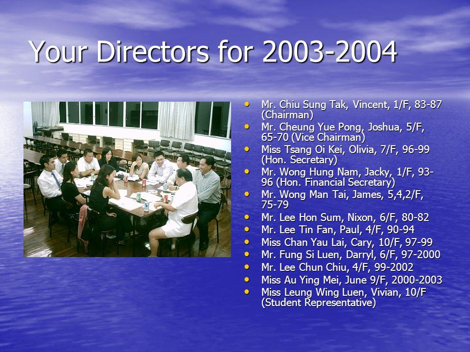 Your Directors for 2003-2004 Mr. Chiu Sung Tak, Vincent, 1/F, 83-87 (Chairman) Mr.