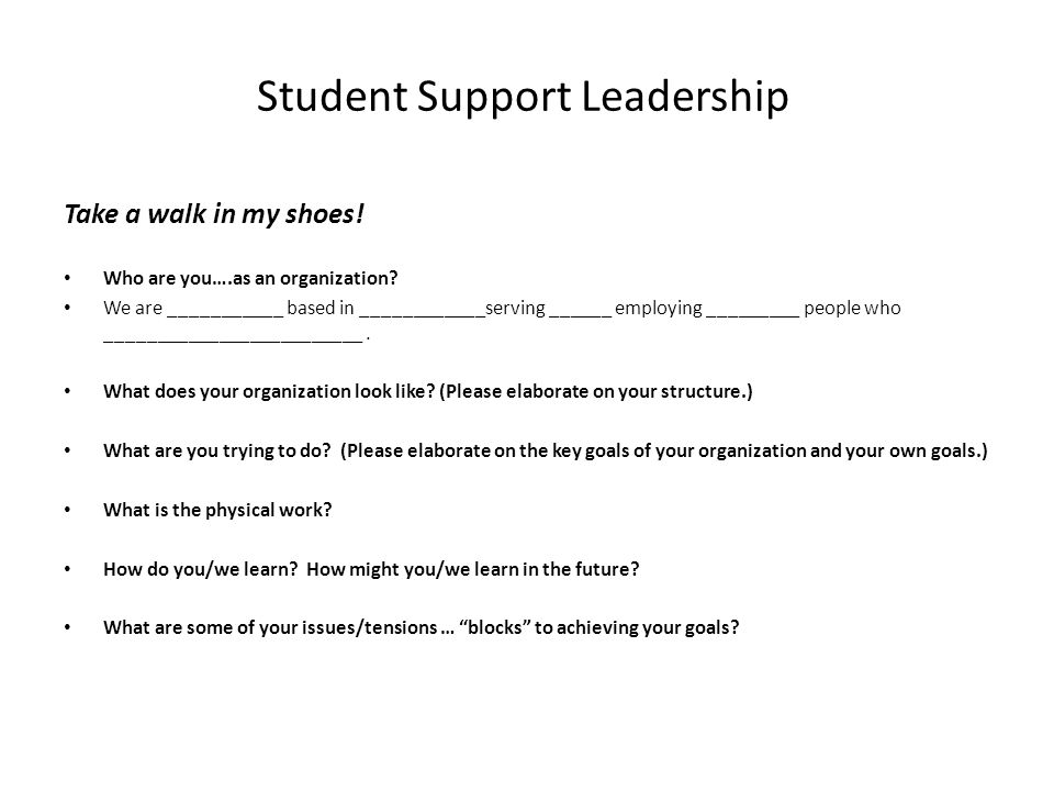Student Support Leadership Take a walk in my shoes.