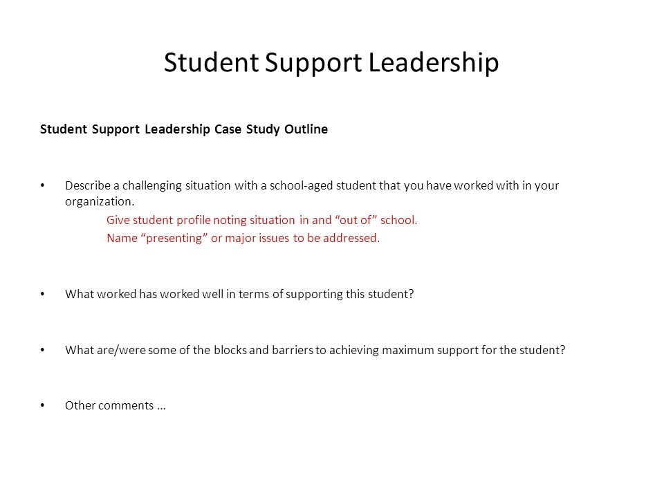 Student Support Leadership Case Study Outline Describe a challenging situation with a school-aged student that you have worked with in your organizati