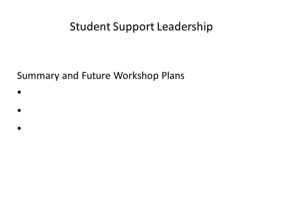 Student Support Leadership Summary and Future Workshop Plans