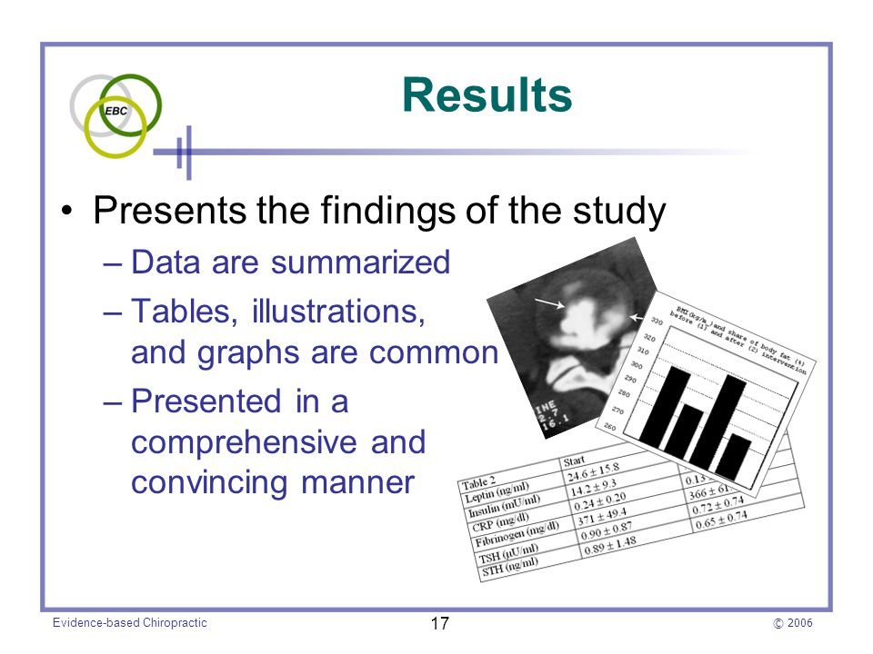© 2006 Evidence-based Chiropractic 17 Presents the findings of the study –Data are summarized –Tables, illustrations, and graphs are common –Presented in a comprehensive and convincing manner Results