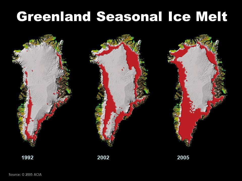 Greenland Seasonal Ice Melt 200520021992 Source: © 2005 ACIA