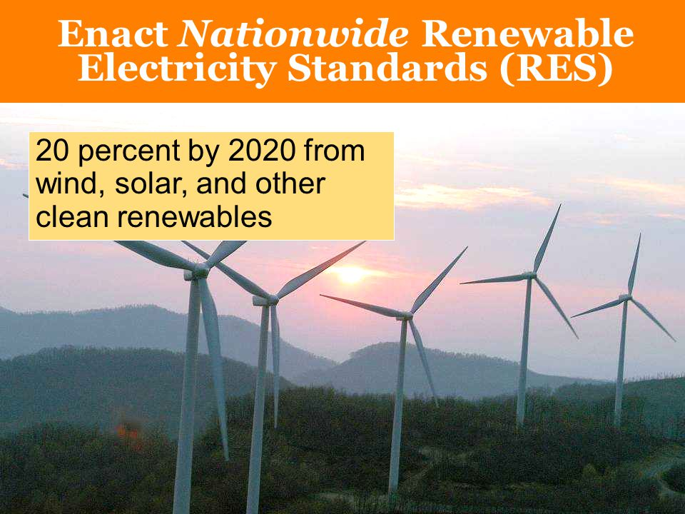 Enact Nationwide Renewable Electricity Standards (RES) 20 percent by 2020 from wind, solar, and other clean renewables