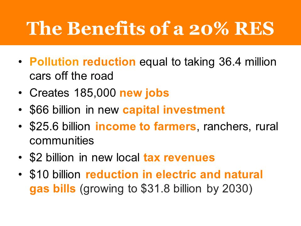 The Benefits of a 20% RES Pollution reduction equal to taking 36.4 million cars off the road Creates 185,000 new jobs $66 billion in new capital investment $25.6 billion income to farmers, ranchers, rural communities $2 billion in new local tax revenues $10 billion reduction in electric and natural gas bills (growing to $31.8 billion by 2030)
