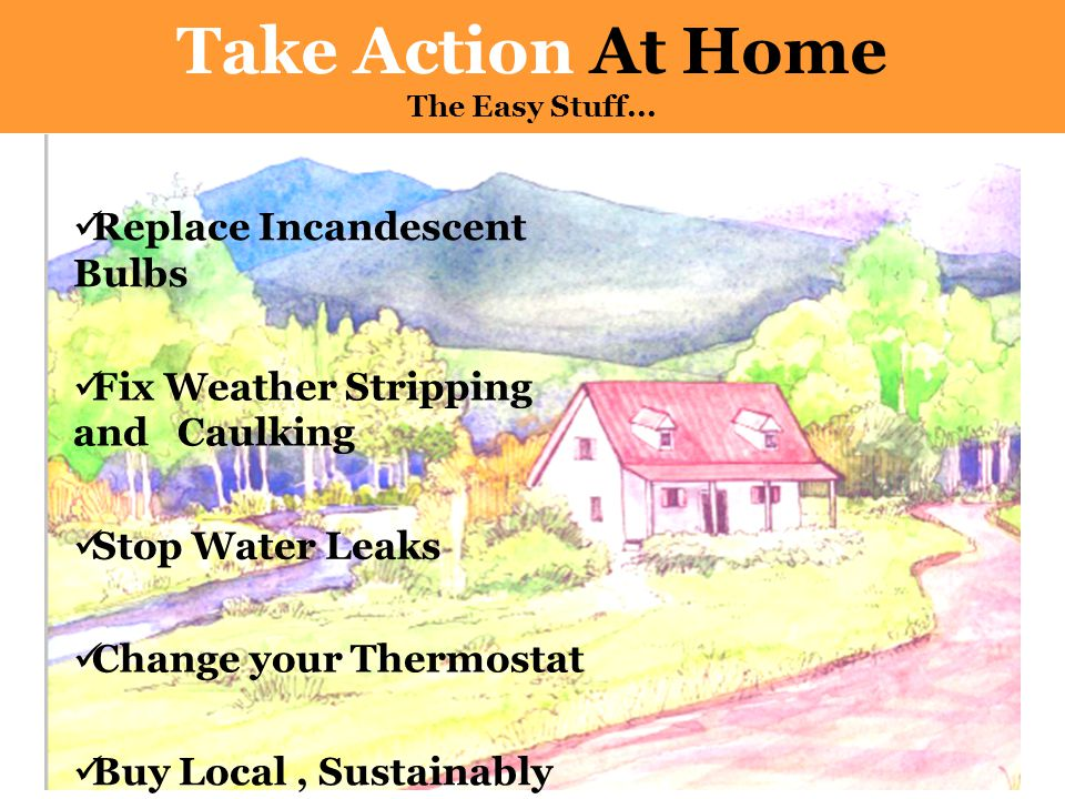 Replace Incandescent Bulbs Fix Weather Stripping and Caulking Stop Water Leaks Change your Thermostat Buy Local, Sustainably Produced Food Take Action At Home The Easy Stuff...