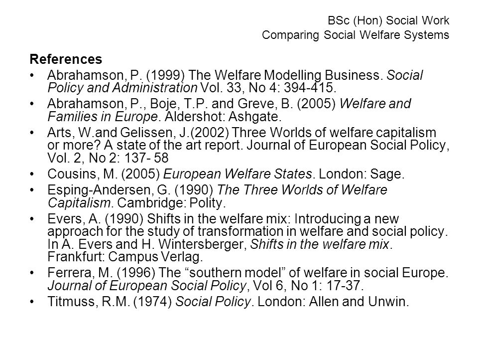 BSc (Hon) Social Work Comparing Social Welfare Systems References Abrahamson, P.