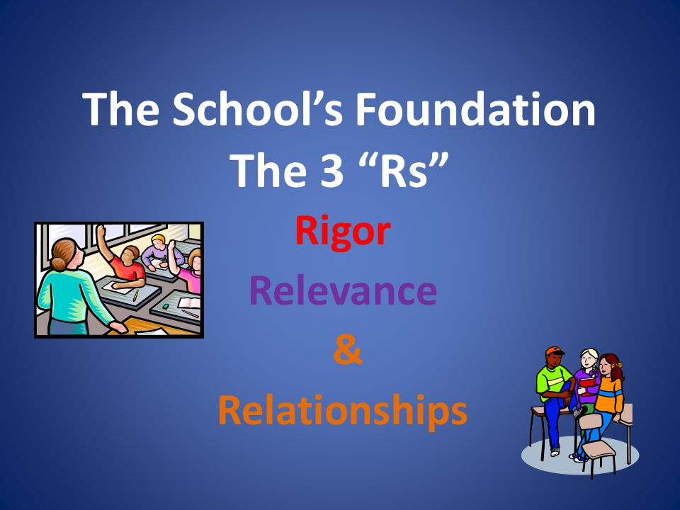 The School's Foundation The 3 Rs Rigor Relevance & Relationships