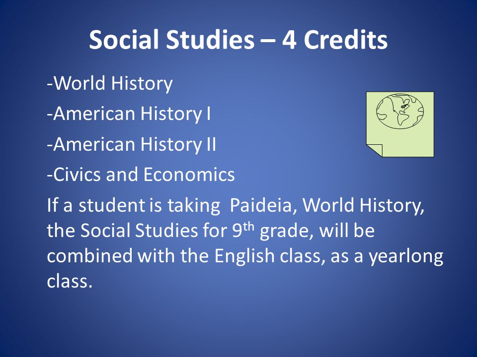 Social Studies – 4 Credits -World History -American History I -American History II -Civics and Economics If a student is taking Paideia, World History, the Social Studies for 9 th grade, will be combined with the English class, as a yearlong class.