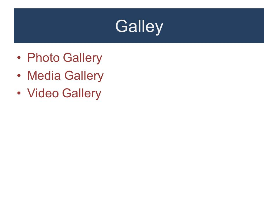 Galley Photo Gallery Media Gallery Video Gallery