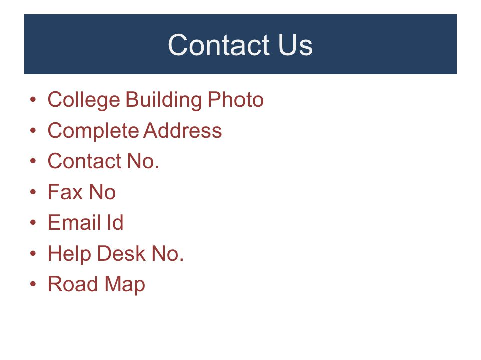 Contact Us College Building Photo Complete Address Contact No.