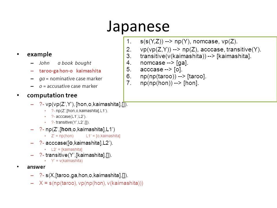 Japanese example – John a book bought – taroo-ga hon-o kaimashita – ga = nominative case marker – o = accusative case marker computation tree – - vp(vp(Z',Y'), [hon,o,kaimashita],[]).