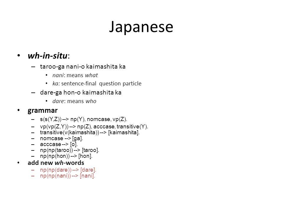 Japanese wh-in-situ: – taroo-ga nani-o kaimashita ka nani: means what ka: sentence-final question particle – dare-ga hon-o kaimashita ka dare: means who grammar –s(s(Y,Z)) --> np(Y), nomcase, vp(Z).