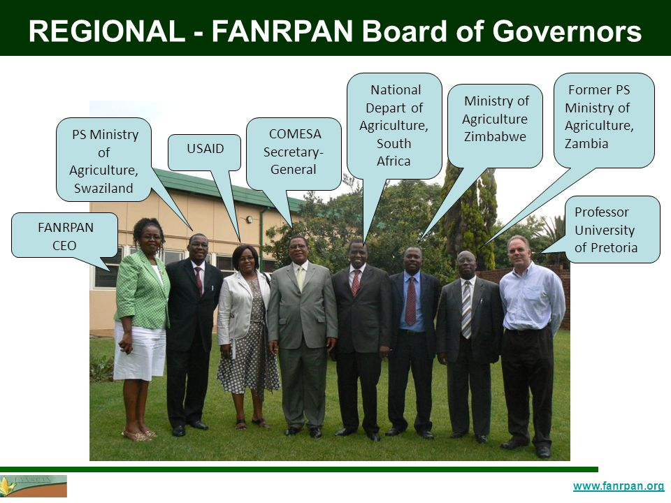 www.fanrpan.org REGIONAL - FANRPAN Board of Governors FANRPAN CEO PS Ministry of Agriculture, Swaziland USAID COMESA Secretary- General National Depart of Agriculture, South Africa Ministry of Agriculture Zimbabwe Former PS Ministry of Agriculture, Zambia Professor University of Pretoria