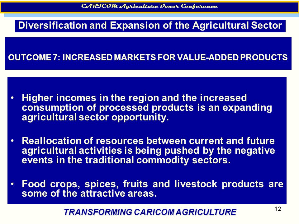 12 OUTCOME 7: INCREASED MARKETS FOR VALUE-ADDED PRODUCTS Higher incomes in the region and the increased consumption of processed products is an expanding agricultural sector opportunity.