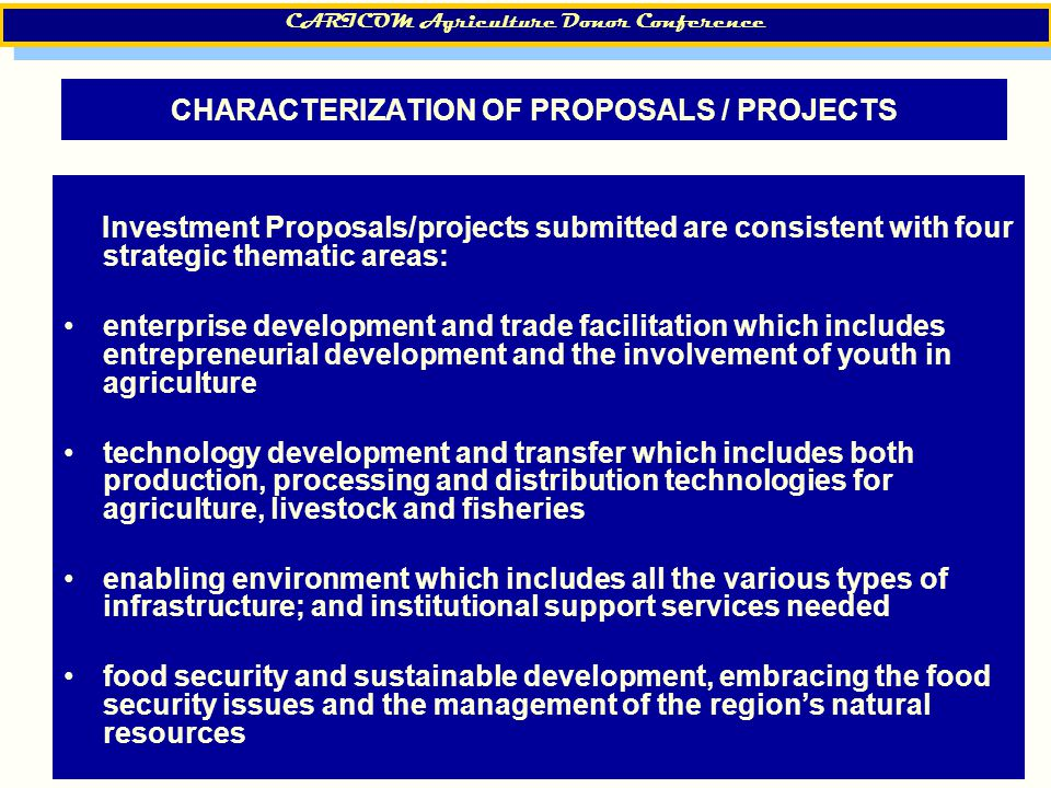 17 CHARACTERIZATION OF PROPOSALS / PROJECTS Investment Proposals/projects submitted are consistent with four strategic thematic areas: enterprise deve