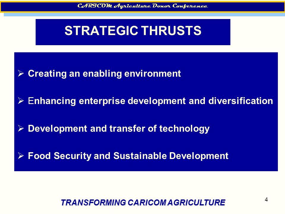 4 STRATEGIC THRUSTS  Creating an enabling environment  Enhancing enterprise development and diversification  Development and transfer of technology