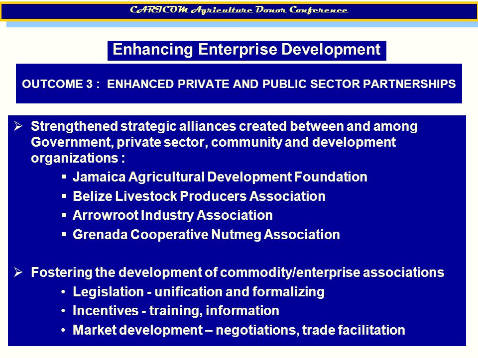 8 OUTCOME 3 : ENHANCED PRIVATE AND PUBLIC SECTOR PARTNERSHIPS  Strengthened strategic alliances created between and among Government, private sector, community and development organizations :  Jamaica Agricultural Development Foundation  Belize Livestock Producers Association  Arrowroot Industry Association  Grenada Cooperative Nutmeg Association  Fostering the development of commodity/enterprise associations Legislation - unification and formalizing Incentives - training, information Market development – negotiations, trade facilitation CARICOM Agriculture Donor Conference Enhancing Enterprise Development