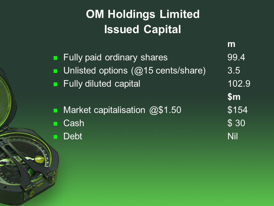 [ m Fully paid ordinary shares99.4 Unlisted options (@15 cents/share)3.5 Fully diluted capital102.9 $m Market capitalisation @$1.50$154 Cash$ 30 DebtNil OM Holdings Limited Issued Capital