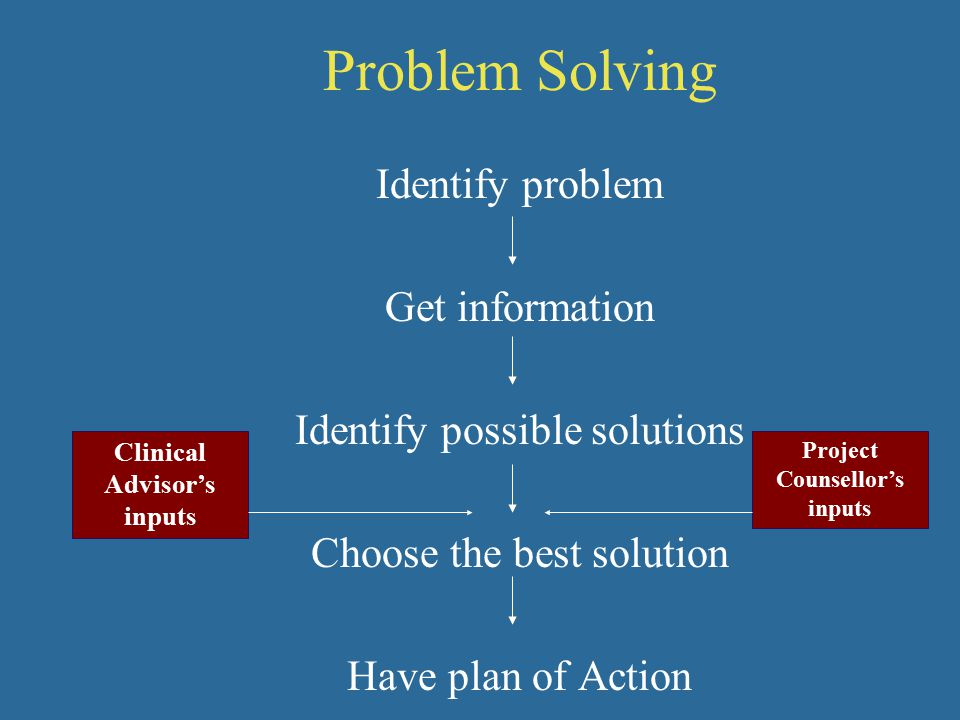 Problem Solving Identify problem Get information Identify possible solutions Choose the best solution Have plan of Action Clinical Advisor's inputs Project Counsellor's inputs
