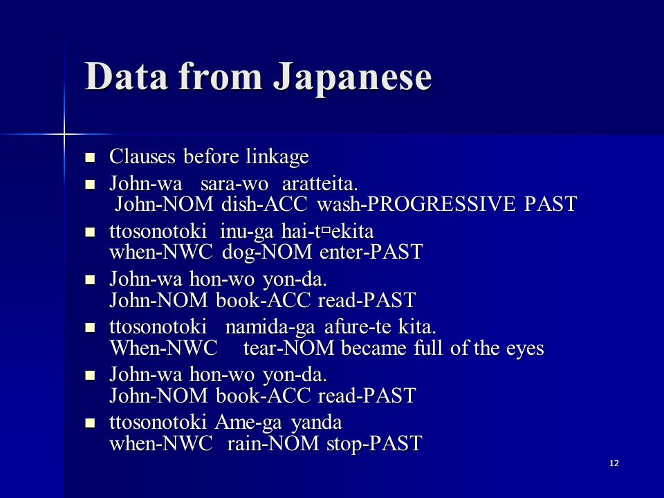 12 Data from Japanese Clauses before linkage Clauses before linkage John-wa sara-wo aratteita.