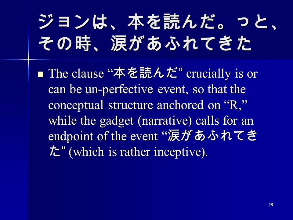 19 ジョンは、本を読んだ。っと、 その時、涙があふれてきた The clause 本を読んだ crucially is or can be un-perfective event, so that the conceptual structure anchored on R, while the gadget (narrative) calls for an endpoint of the event 涙があふれてき た (which is rather inceptive).