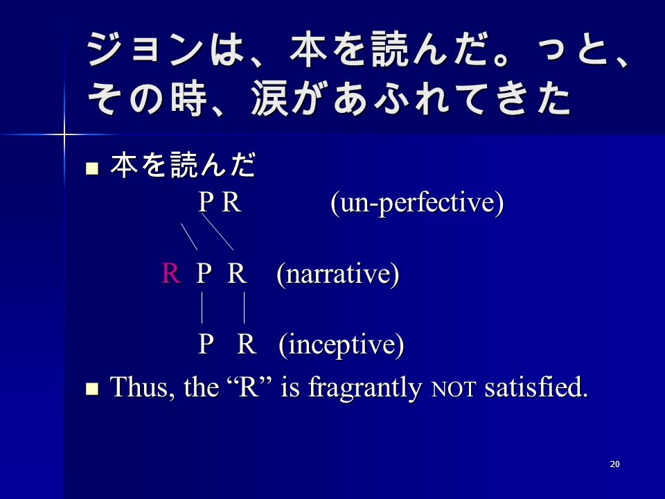 20 ジョンは、本を読んだ。っと、 その時、涙があふれてきた 本を読んだ P R (un-perfective) R P R (narrative) P R (inceptive) 本を読んだ P R (un-perfective) R P R (narrative) P R (inceptive) Thus, the R is fragrantly NOT satisfied.