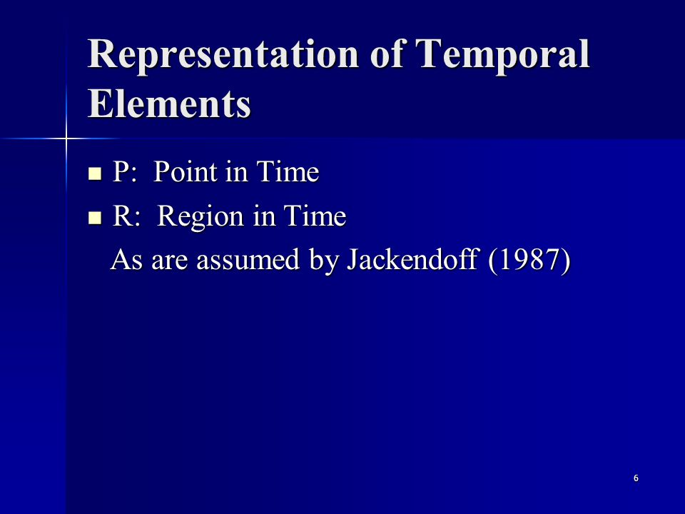 6 Representation of Temporal Elements P: Point in Time P: Point in Time R: Region in Time R: Region in Time As are assumed by Jackendoff (1987) As are assumed by Jackendoff (1987)