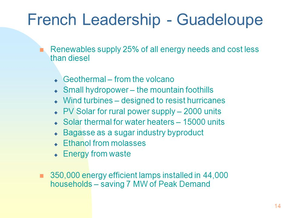 14 French Leadership - Guadeloupe n Renewables supply 25% of all energy needs and cost less than diesel u Geothermal – from the volcano u Small hydropower – the mountain foothills u Wind turbines – designed to resist hurricanes u PV Solar for rural power supply – 2000 units u Solar thermal for water heaters – 15000 units u Bagasse as a sugar industry byproduct u Ethanol from molasses u Energy from waste n 350,000 energy efficient lamps installed in 44,000 households – saving 7 MW of Peak Demand