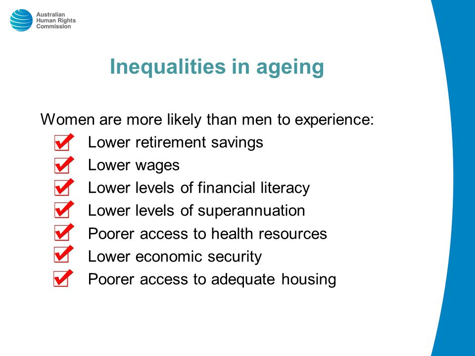 Inequalities in ageing Women are more likely than men to experience: Lower retirement savings Lower wages Lower levels of financial literacy Lower levels of superannuation Poorer access to health resources Lower economic security Poorer access to adequate housing