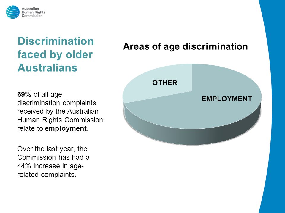 Discrimination faced by older Australians Areas of age discrimination 69% of all age discrimination complaints received by the Australian Human Rights Commission relate to employment.