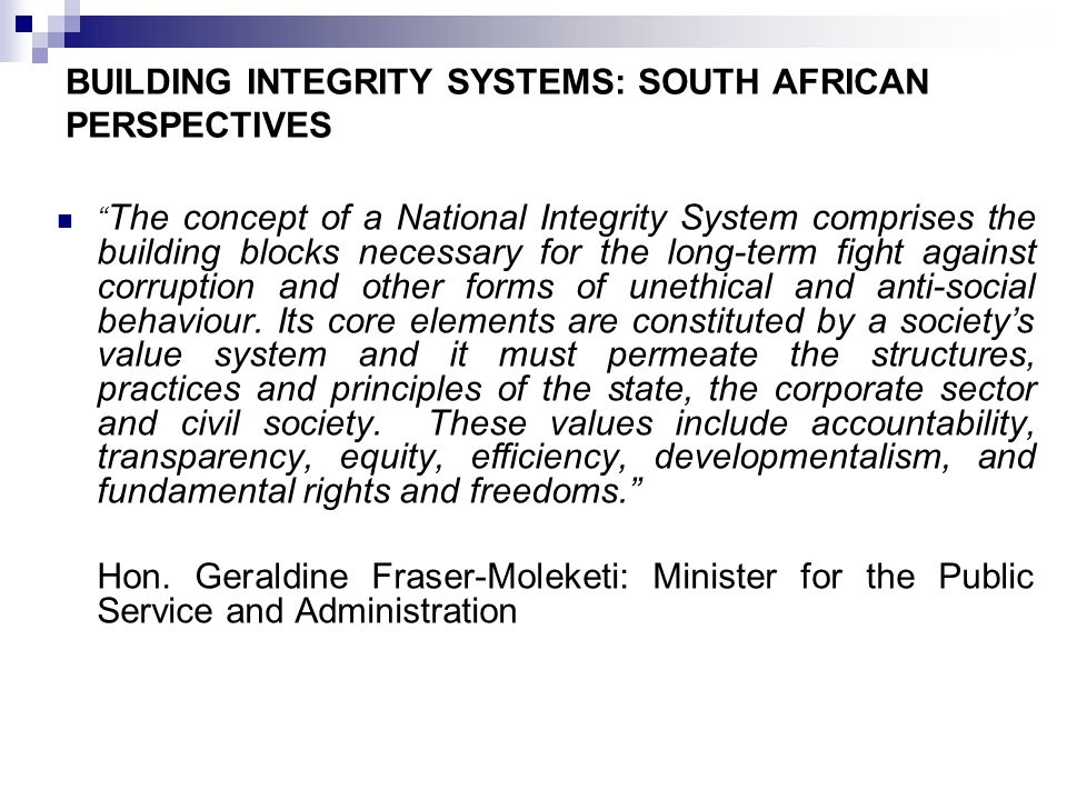 CONTND Our South African Constitution includes a Bill of Rights and sets out the values and principles that govern public administration which all organs of state must observe and promote.