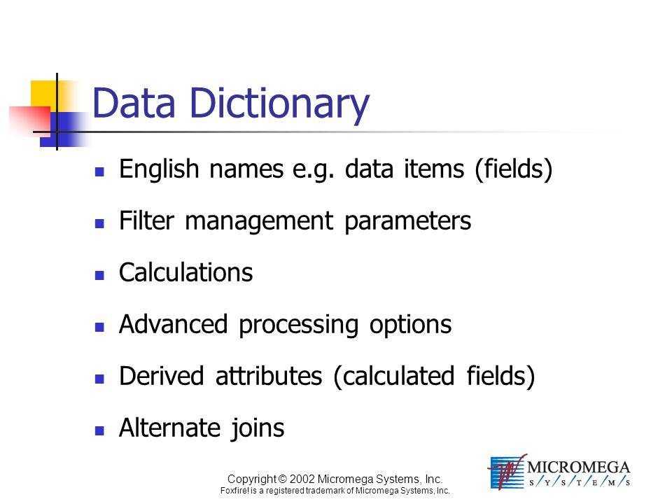 Copyright © 2002 Micromega Systems, Inc. Foxfire! is a registered trademark of Micromega Systems, Inc. Data Dictionary English names e.g. data items (
