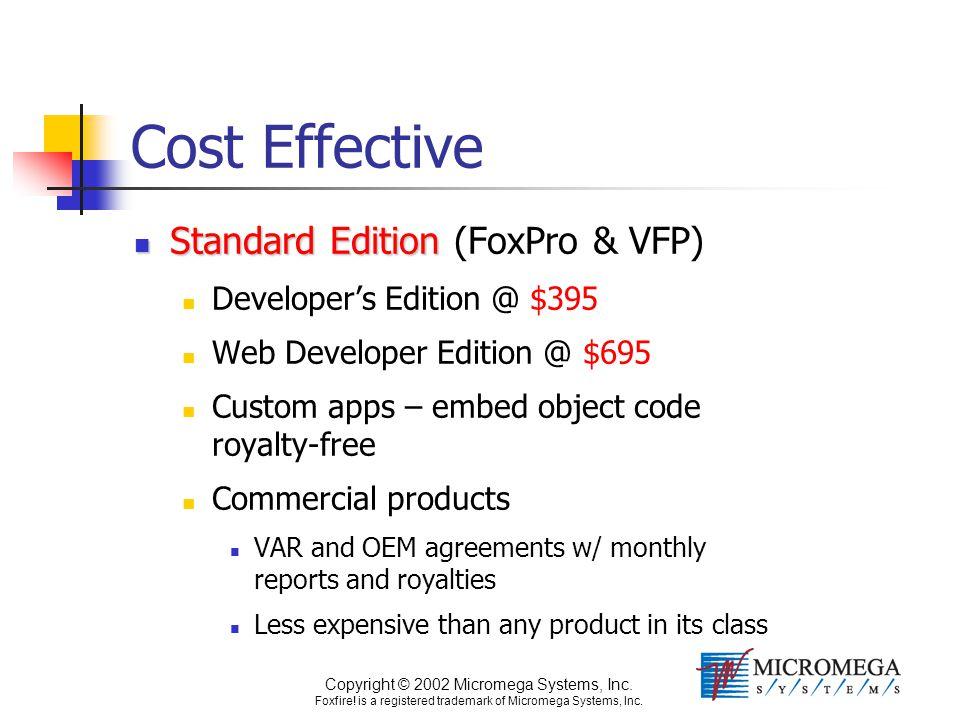 Copyright © 2002 Micromega Systems, Inc. Foxfire! is a registered trademark of Micromega Systems, Inc. Cost Effective Standard Edition Standard Editio