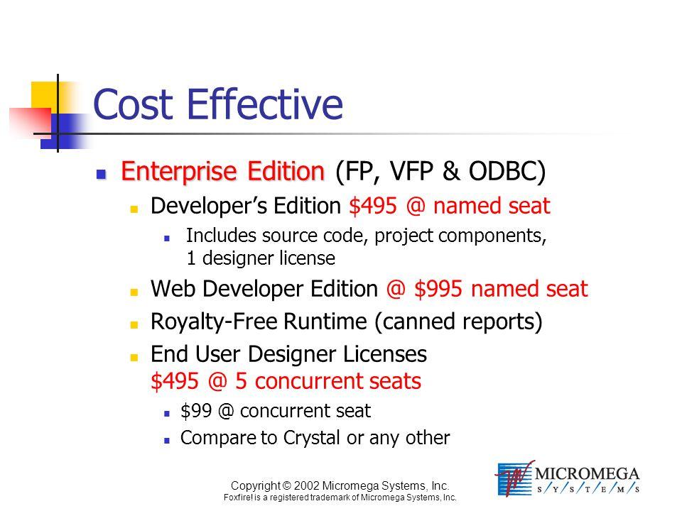 Copyright © 2002 Micromega Systems, Inc. Foxfire! is a registered trademark of Micromega Systems, Inc. Cost Effective Enterprise Edition Enterprise Ed
