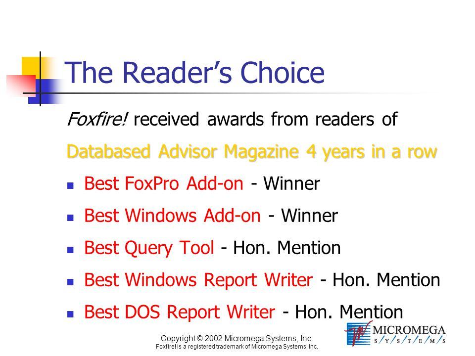 Copyright © 2002 Micromega Systems, Inc. Foxfire! is a registered trademark of Micromega Systems, Inc. The Reader's Choice Foxfire! received awards fr