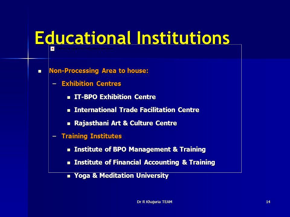 Dr R Khajuria TEAM14 Educational Institutions Non-Processing Area to house: Non-Processing Area to house: –Exhibition Centres IT-BPO Exhibition Centre