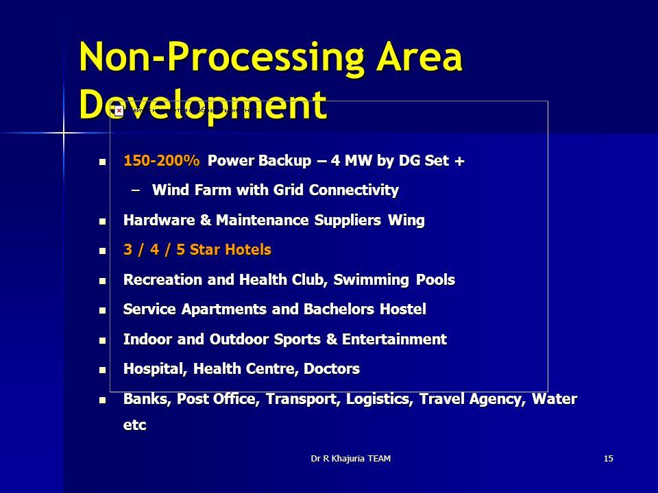 Dr R Khajuria TEAM15 Non-Processing Area Development 150-200% Power Backup – 4 MW by DG Set + 150-200% Power Backup – 4 MW by DG Set + –Wind Farm with