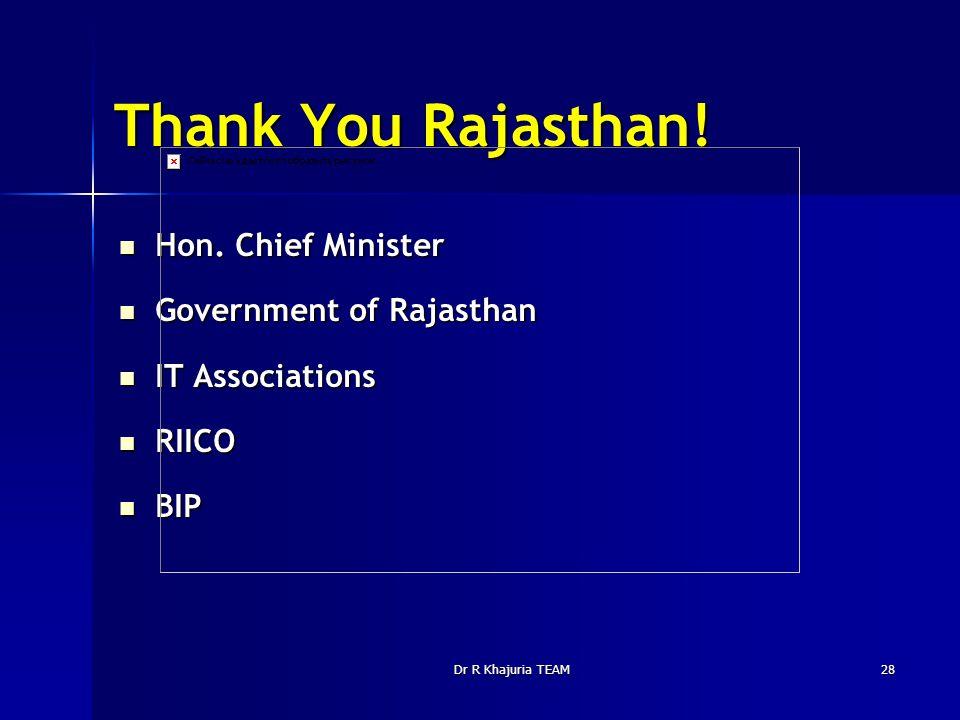 Dr R Khajuria TEAM28 Thank You Rajasthan! Hon. Chief Minister Hon. Chief Minister Government of Rajasthan Government of Rajasthan IT Associations IT A