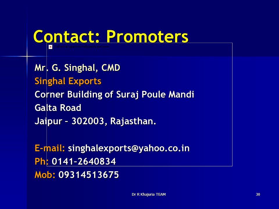Dr R Khajuria TEAM30 Contact: Promoters Mr. G. Singhal, CMD Singhal Exports Corner Building of Suraj Poule Mandi Galta Road Jaipur – 302003, Rajasthan