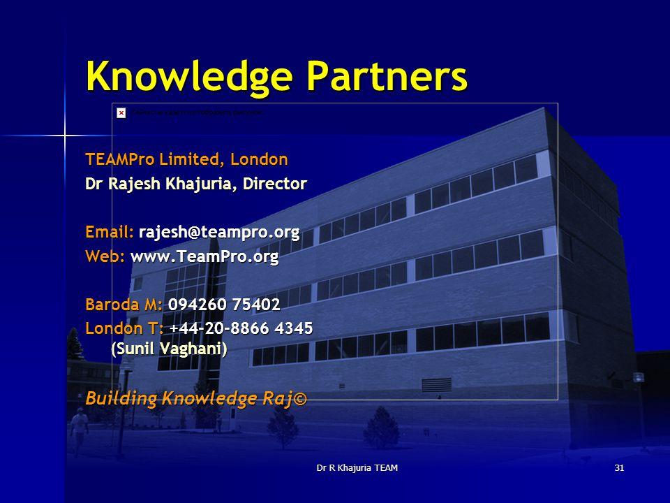 Dr R Khajuria TEAM31 Knowledge Partners TEAMPro Limited, London Dr Rajesh Khajuria, Director Email: rajesh@teampro.org Web: www.TeamPro.org Baroda M: