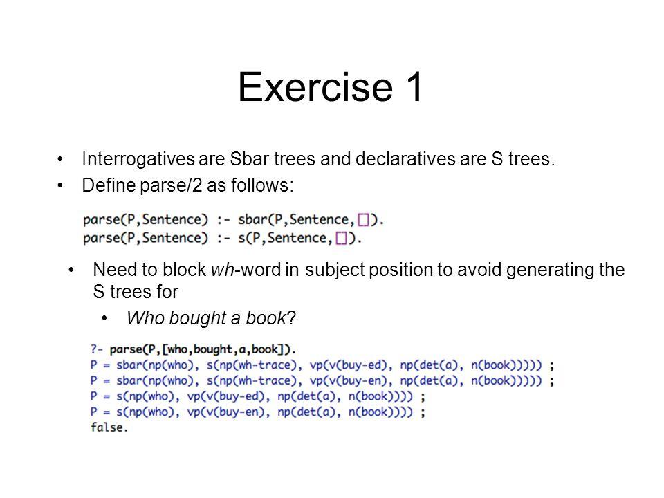 Example 1 declarative example –John bought a book s(np(john),vp(v(bought),np(det(a),n(book)))) –Taroo-ga hon-o katta s(np(taroo),vp(np(hon),v(katta))) query (E  J) –?- translate([john,bought,a,book],J).