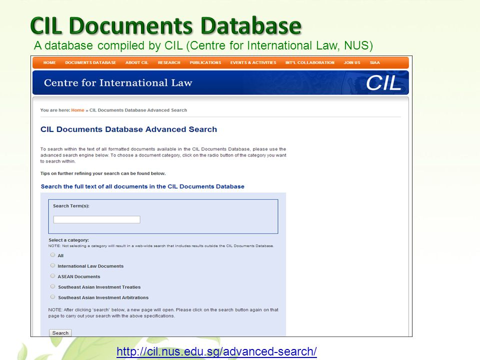 http://cil.nus.edu.sg/advanced-search/ A database compiled by CIL (Centre for International Law, NUS)
