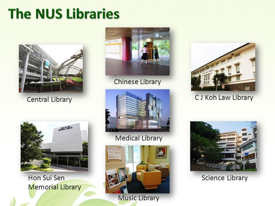 Central Library Science Library Chinese Library C J Koh Law Library Hon Sui Sen Memorial Library Music Library Medical Library