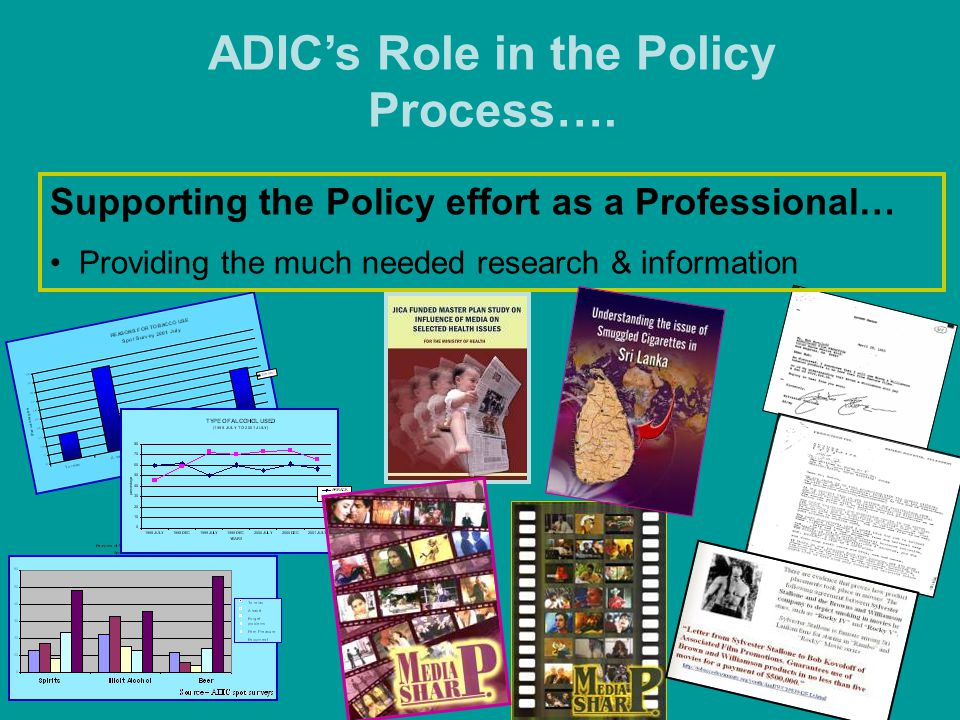 ADIC's Role in the Policy Process…. Supporting the Policy effort as a Professional… Providing the much needed research & information