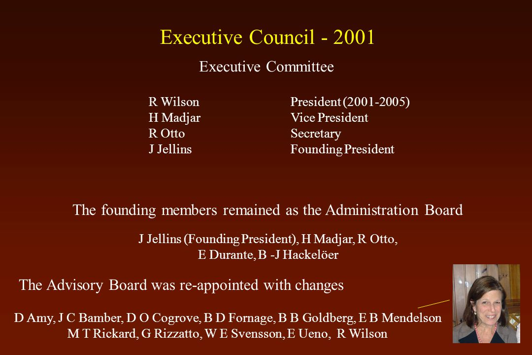 The founding members remained as the Administration Board J Jellins (Founding President), H Madjar, R Otto, E Durante, B -J Hackelöer The Advisory Board was re-appointed with changes D Amy, J C Bamber, D O Cogrove, B D Fornage, B B Goldberg, E B Mendelson M T Rickard, G Rizzatto, W E Svensson, E Ueno, R Wilson R WilsonPresident (2001-2005) H MadjarVice President R Otto Secretary J JellinsFounding President Executive Committee Executive Council - 2001