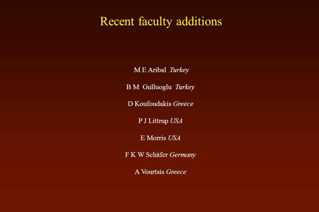 Recent faculty additions M E Aribal Turkey B M Gulluoglu Turkey D Koufoudakis Greece P J Littrup USA E Morris USA F K W Schäfer Germany A Vourtsis Greece