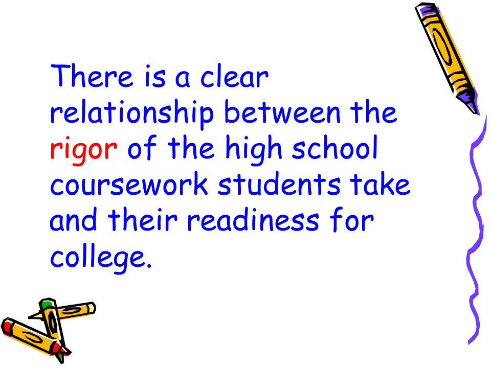 There is a clear relationship between the rigor of the high school coursework students take and their readiness for college.